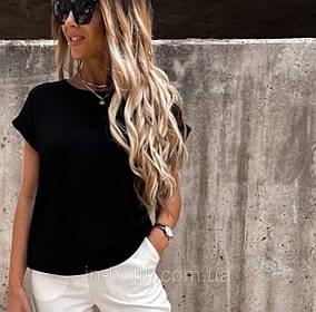 Летняя блузка футболка черная свободного кроя