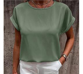 Летняя блузка футболка оливковая свободного кроя