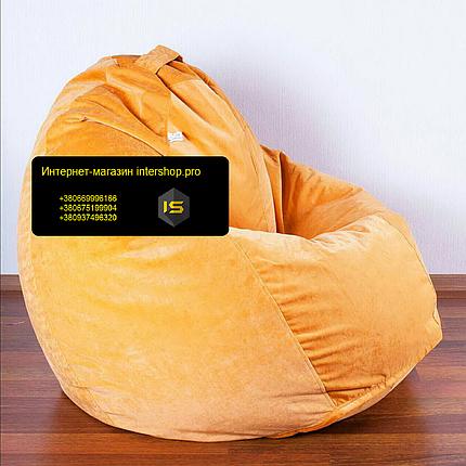 Кресло мешок груша Флок оранжевый, фото 2