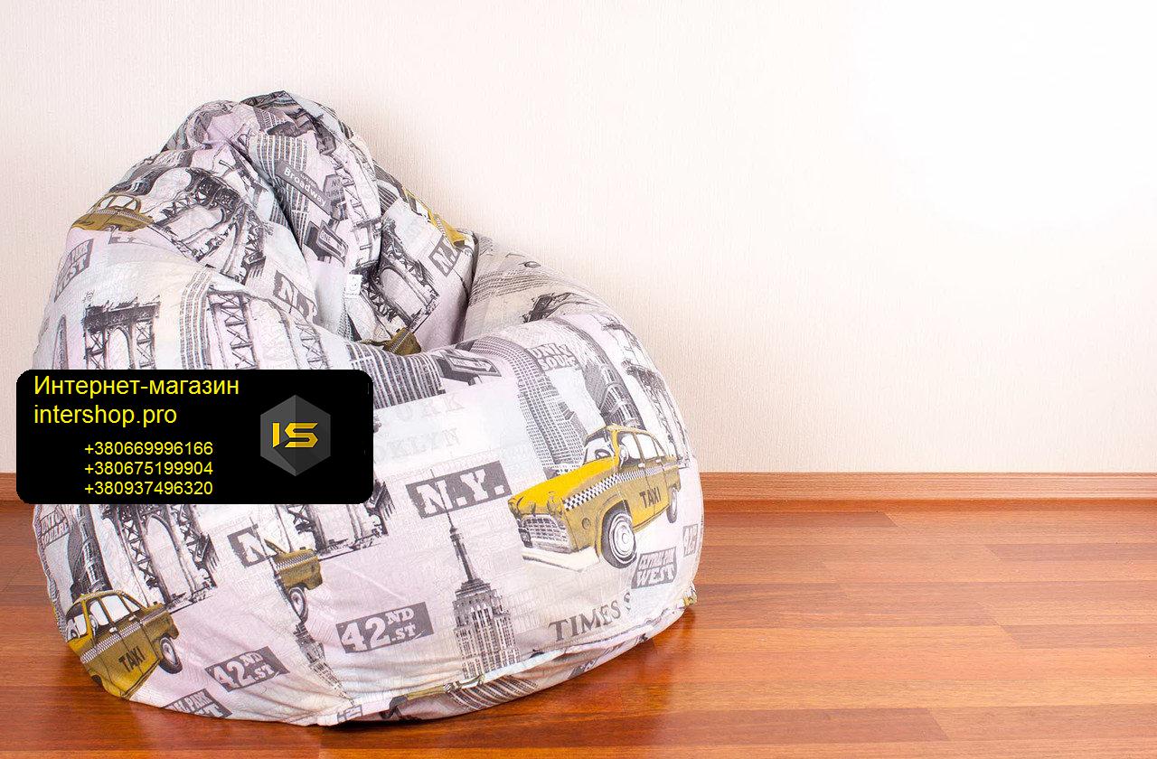 Кресло мешок груша с рисунком Такси