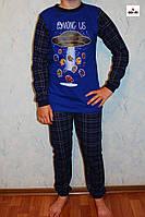 Пижама детская летняя трикотаж для мальчика в клетку синяя Космос 36-40р.