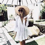 Пляжное платье туника рубашка белое