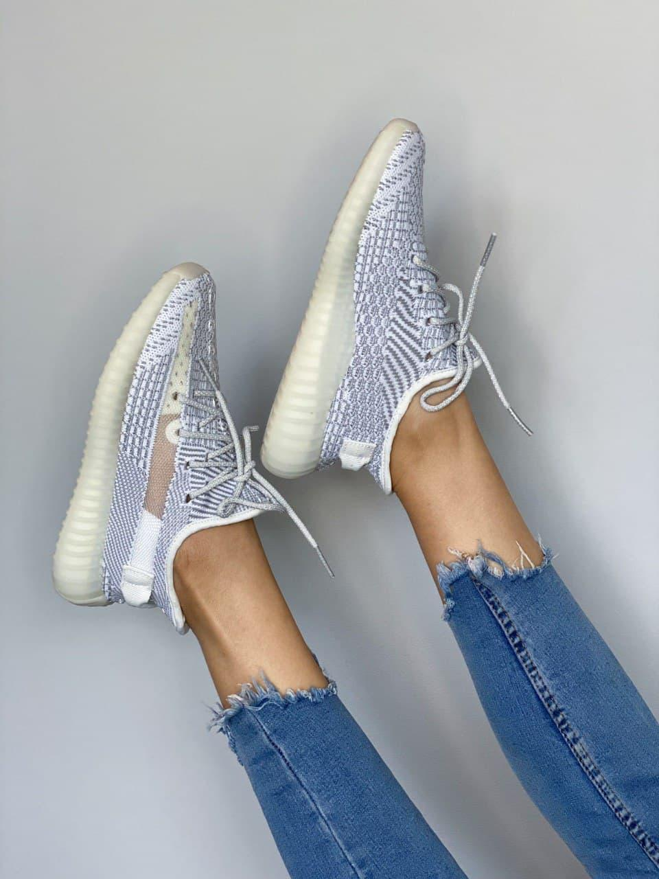 Женские кроссовки Adidas Yeezy 350 Static Reflective Laces