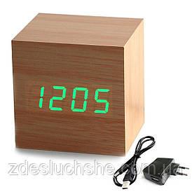 Часы будильник с адаптером KS wood clock green SKL25-150626