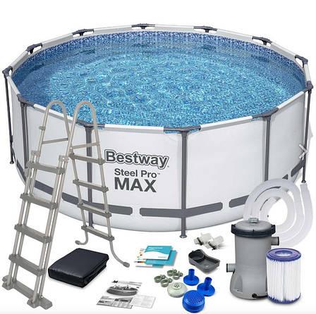 """Каркасний басейн """"Steel Pro Max"""" Bestway 56420 (366х122 см) сходи, тент, насос і фільтр, фото 2"""
