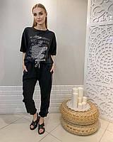 Турецкая женская трикотажная черная футболка с надписью и камнями, 7880, фото 1