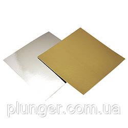 Підкладка квадратна під торт 30 х 30 см золото/срібло