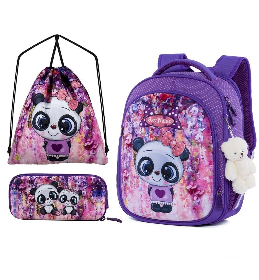 Школьный рюкзак набор для девочки в 1-3 класс пенал и сумка для сменки Мишка Панда SkyName R4-401