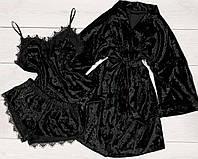 Черная велюровая пижама и халат-набор одежды для дома.