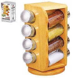 Набор для специй с деревянной подставкой Stenson MS-0371 Woody 8 предметов 111747, КОД: 2350736