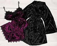 Велюровая одежа для дома, комплект тройка халат и пижама
