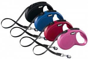 Рулетка для собак Flexi New CLASSIC COMPACT ремінь 3 м до 12 кг (4 кольори)
