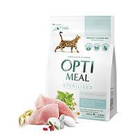 Корм Optimeal Sterilized 4 кг для стерилізованих кішок і кастрованих котів, індичка і овес