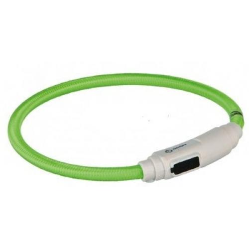 Світиться нашийник для кота USB 35 см / 7 мм, зелений
