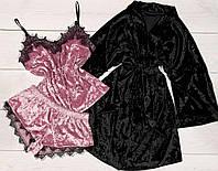 Черный велюровый халат + пижама Пинк
