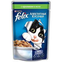 Felix (Фелікс) консерви для котів з кроликом 100 г * 20 шт шматочки в желе