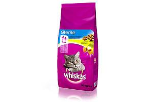 Whiskas (Вискас) 14 кг сухой корм для стерилизованных кошек и кастрированных котов с курицей