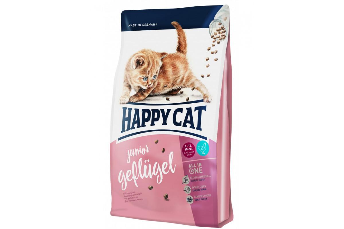 Сухой корм Happy Cat Junior Geflugel 10 кг для котят всех пород возрастом от 5 недели до 12 месяцев с птицей