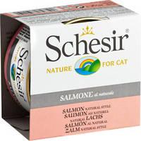 Schesir Salmon Natural Style лосось в собственном соку натуральные консервы для котов 85 г * 14 шт