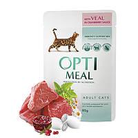 Optimeal консервы для котов с телятиной в клюквенном соусе 0,085 кг х 12 шт