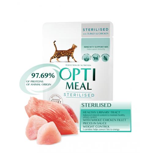 Optimeal консервы для стерилизованных котов с индейкой и куриным филе в соусе 0,085 кг х 12 шт