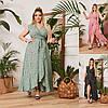 Р 46-64 Літній натуральне плаття на запах у квітковий принт Батал 23954