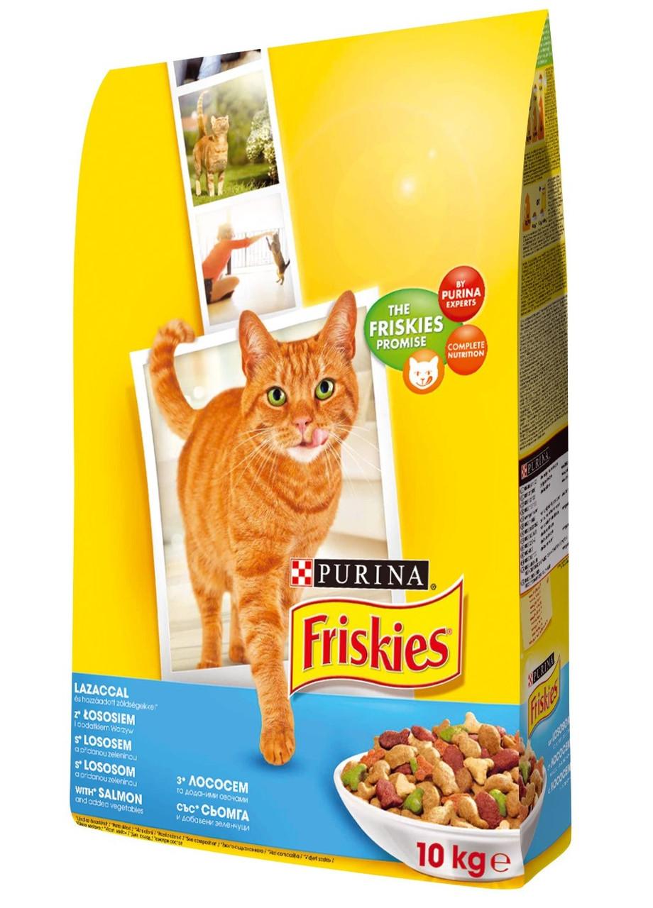 Корм Friskies с лососем и овощами 10 кг для взрослых котов