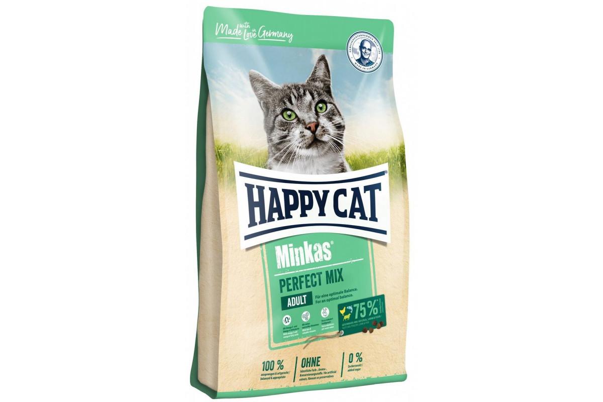 Сухой корм Happy Cat Minkas Perfect Mix 10 кг для взрослых кошек, c птицей, ягненком и рисом