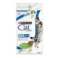 Корм Cat Chow 15 кг FELINE 3 в 1 с индейкой для взрослых кошек