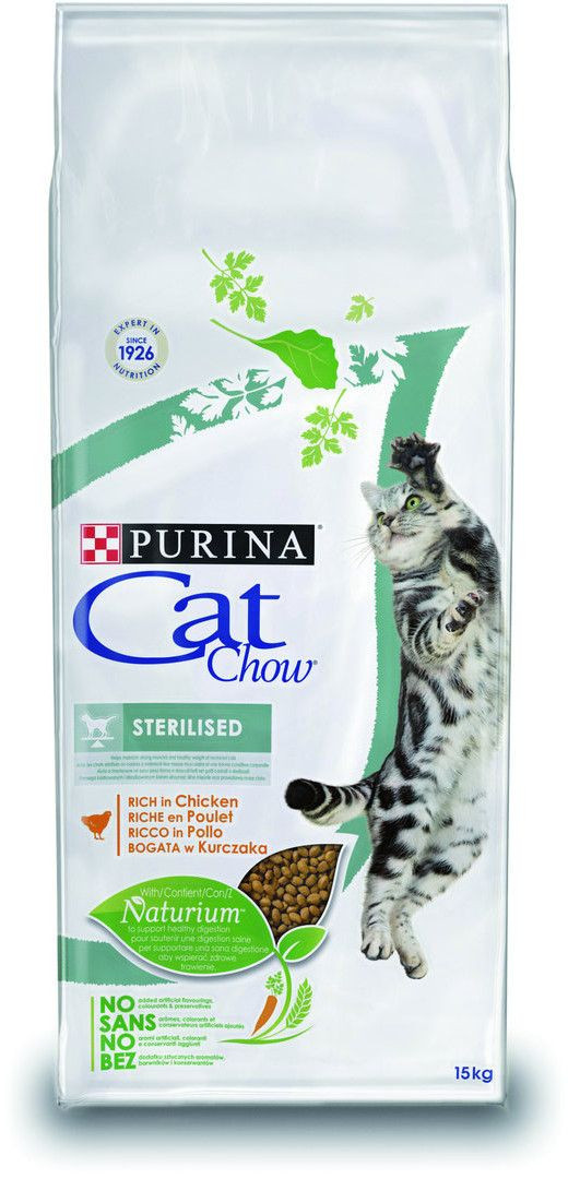Корм Cat Chow Sterilized 15 кг для стерилизованных кошек и кастрированных котов