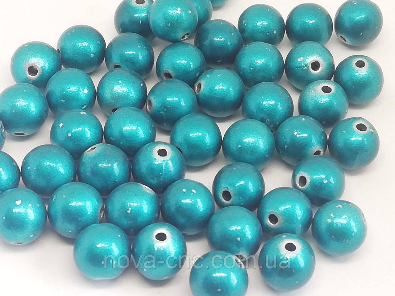 """Намистини пластик """"Куля гладкий""""яскраво-блакитний 9 мм 500 грам"""