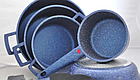 Набор кастрюль Top Kitchen (Синий) с мраморным покрытием   Набор посуды   Кастрюли, сковородки с крышками, фото 2