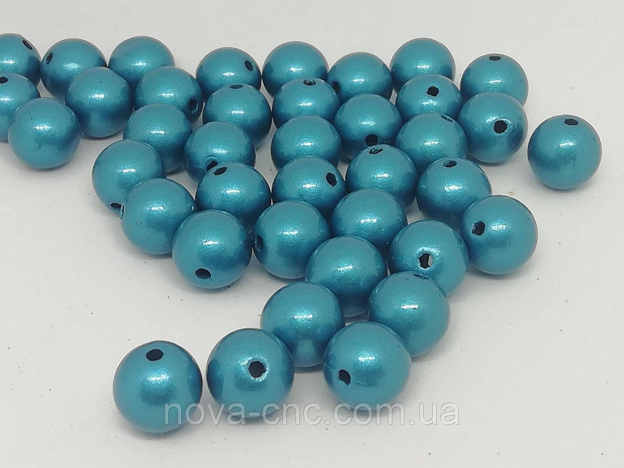 """Намистини пластик """"Куля гладкий"""" темно-блакитний 7 мм 500 грам"""