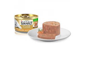 Gourmet Gold консервы для кошек 85 г х 24 шт - кусочки в паштете с уткой, морковью и шпинатом
