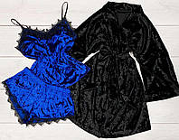 Комплект домашньої одягу з мармурового велюру, халат+піжама