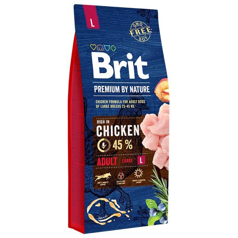 Сухой корм Brit Premium Adult L 15 кг для взрослых собак крупных пород с курицей