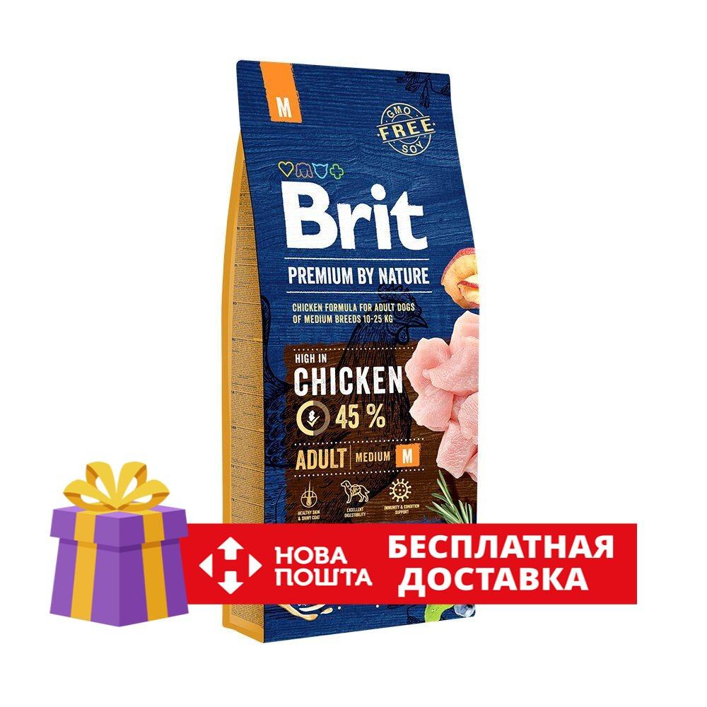 Сухий корм Brit Premium Adult M 15 кг для дорослих собак середніх порід з куркою