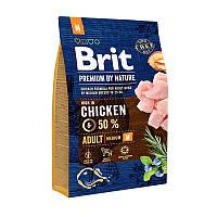 Brit Premium Adult M3 кг сухой корм для взрослых собак средних пород с курицей