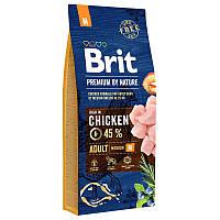 Brit Premium Adult M8 кг - Сухой корм для взрослых собак средних пород с курицей