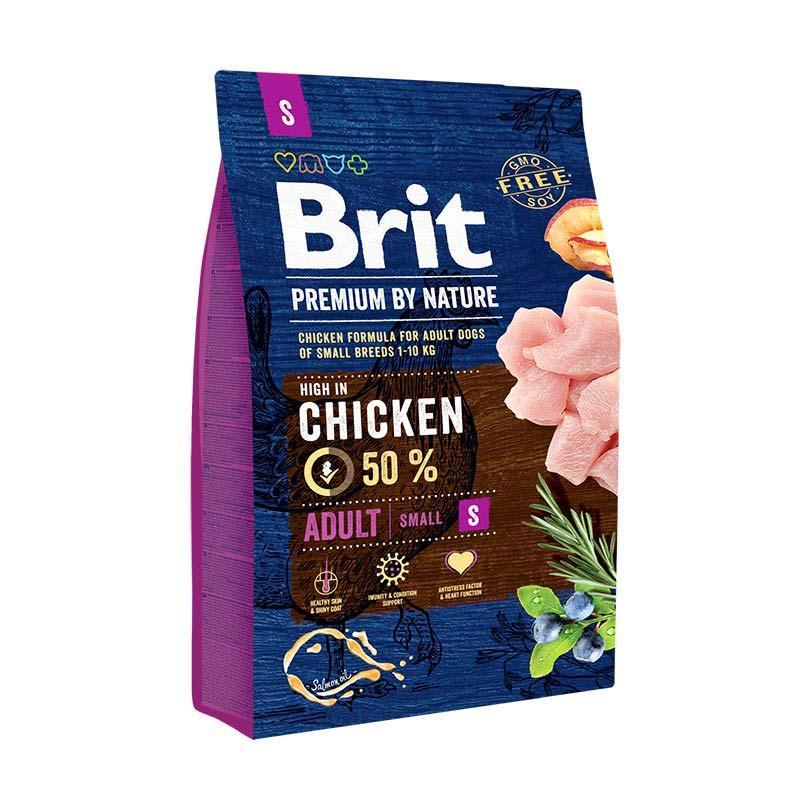 Brit Premium Adult S сухий корм для дорослих собак дрібних порід з куркою 3 кг