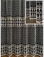 """Тюль з вишивкою на основі фатину """"Мінора"""" (крем+золотий), фото 1"""