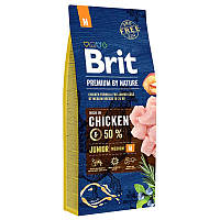 Brit Premium Junior M 15 кг - Сухой корм для щенков и молодых собак средних породс курицей