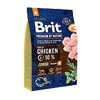 Brit Premium Junior M сухой корм для щенков и молодых собак средних породс курицей 3 кг