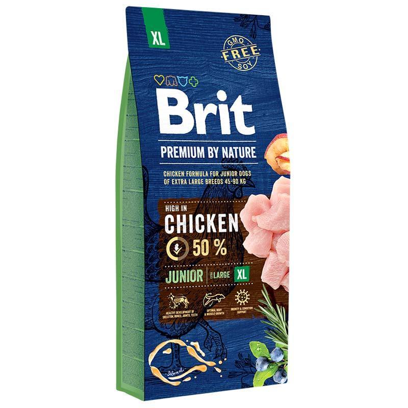 Brit Premium Junior XL 15 кг - Сухий корм для цуценят і молодих собак гігантських порід з куркою