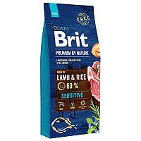 Корм Brit Premium Lamb and Rice 15 кг гіпоалергенний для собак з ягням і рисом