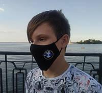 Маска многоразовая тканевая защитная черная BMW на лицо, маска для рта