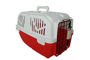Переноска AnimAll для котов и собак 52х35х33 см, красная