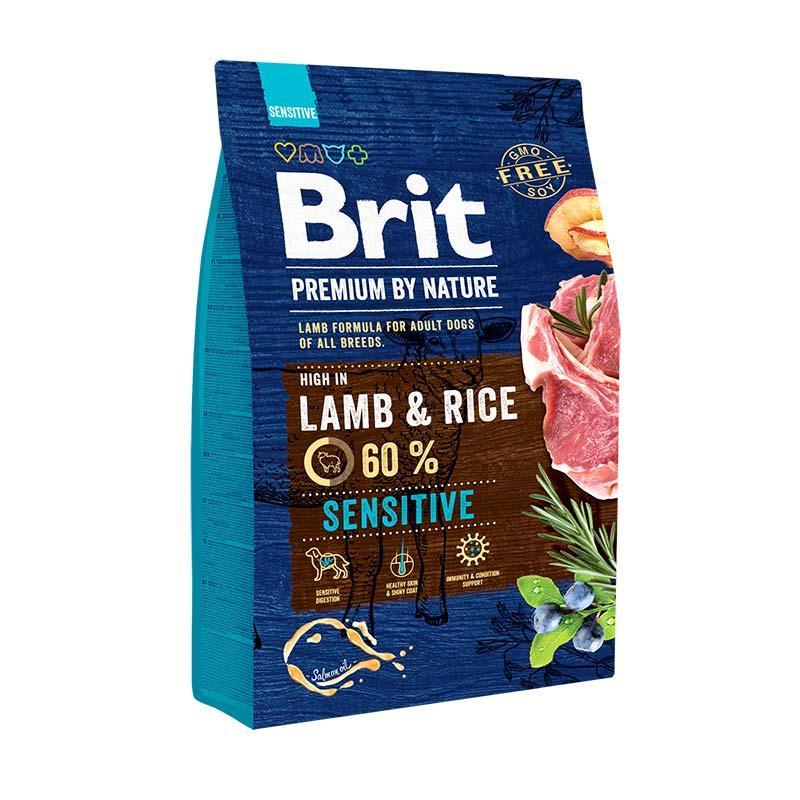 Корм Brit Premium Lamb and Rice 3 кг гіпоалергенний для собак з ягням і рисом