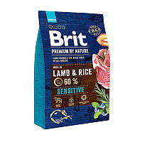 Корм Brit Premium Lamb and Rice 3 кг гипоаллергенный для собак с ягненком и рисом