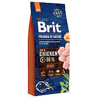 Brit Premium Sport 15 кг - Сухой корм для активных собак с повышенной физической нагрузкойс курицей